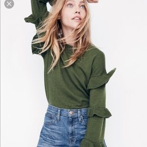 J.Crew Green Sweater with Ruffles